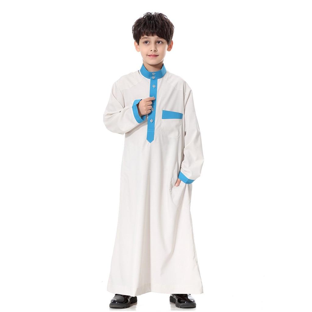 Muslim Clothing Arab Dubai Turkey Malaysia Kaftan Long Sleeve Solid Saudi Arab Islamic Muslim Dubai Robe For Boys 4.17