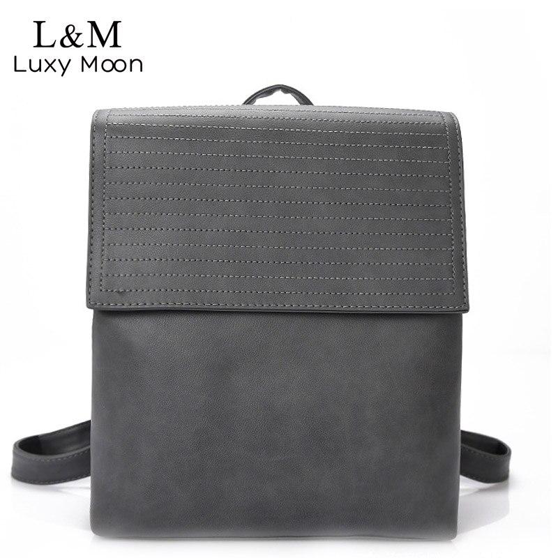 Women Backpack 2017 Fashion Peppy Style Teenage Girls School Bag High Quality PU Leather Backpacks Grey