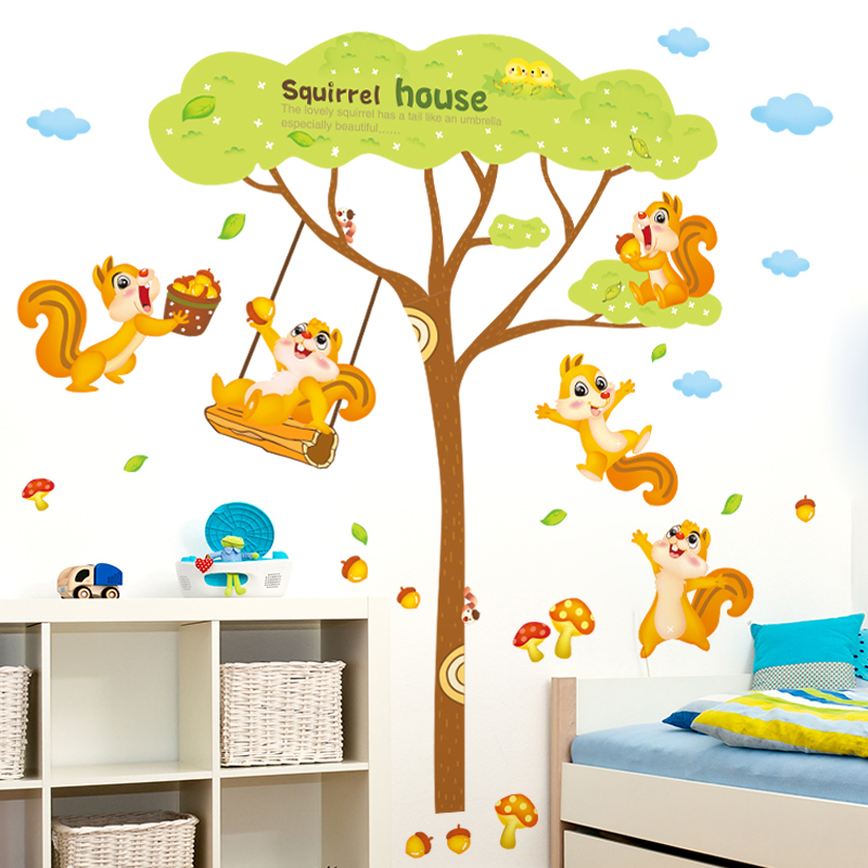 2 Pcs/lot 2016 New Arrival Cartoon Tree Squirrel House Wall Sticker Cute Animals Kids Rooms Stikers DIY Mural Home Decor WT119