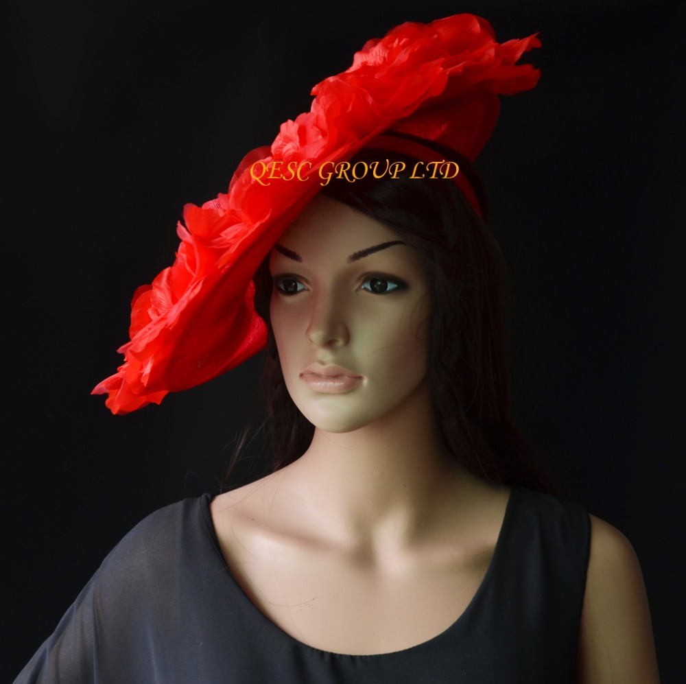 NEW 4 Colors Red Big Sinamay Hat Saucer Fascinator Hat Silk Flower Fascinator Kentucky Derby Hat For Races,wedding,church,party.