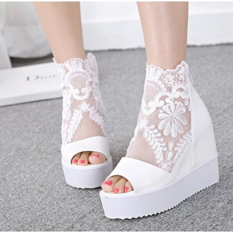 YeddaMavis Women Shoes Sandals 2019 Summer New Platform Fish Mouth Hollow Bud Silk Woman White