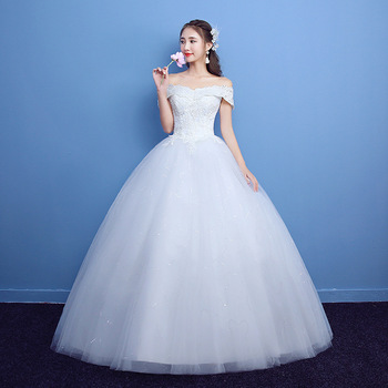 Bridal Dressing Gown 2019 Wedding Dress Ball Gown Simple Handmade Lace Tulle Off the Shoulder Swag Sleeve Floor Length White