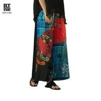 Контур Для женщин Летние черные цветочные брюки карманов эластичной резинкой на талии и принтом свободные пестрые ботильоны из разнотканк