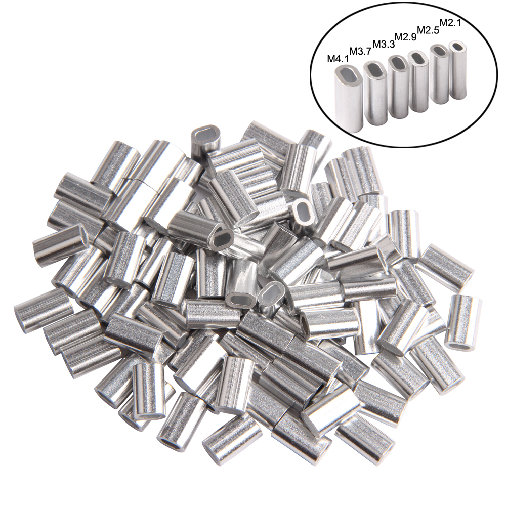 300pcs White Oval Aluminum Fishing Tube Durable Fishing Wire Pipe Crimp Sleeves Connector Fishing Line Accessories