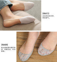 f363e0360d6b9 Female Black Sexy Lady Girl Cross Lace No Show Peds Antiskid Invisible Liner  Low Cut Ankle Boat Socks Slippers For Woman tt96