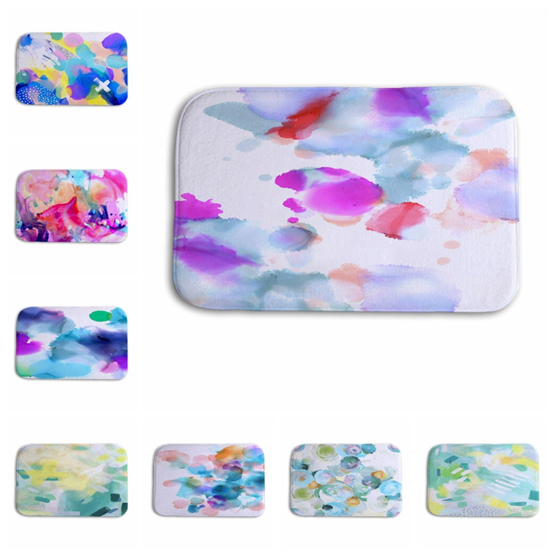 leaves pink Light ink Watercolor graffiti Landscape painting 40*60cm Entrance Indoor Coral Fleece Non-slip Floor Mat Doormat