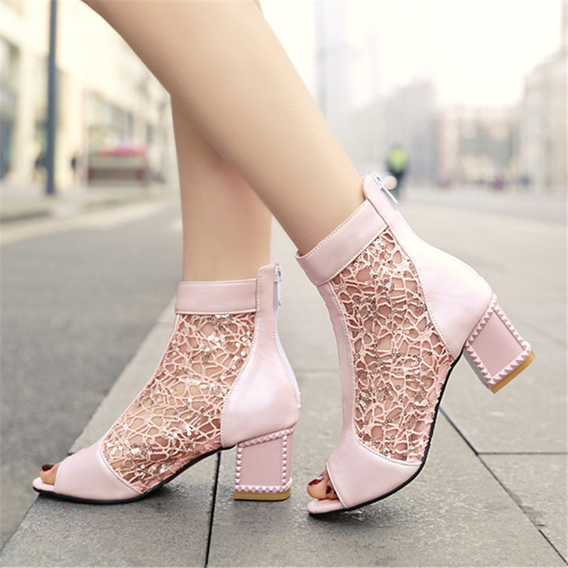 ФОТО 2016 New Fashion Peep Toe summer sandals boots gladiator Women Pumps breathable sequined shoes High-heeled Lace Large size shoes