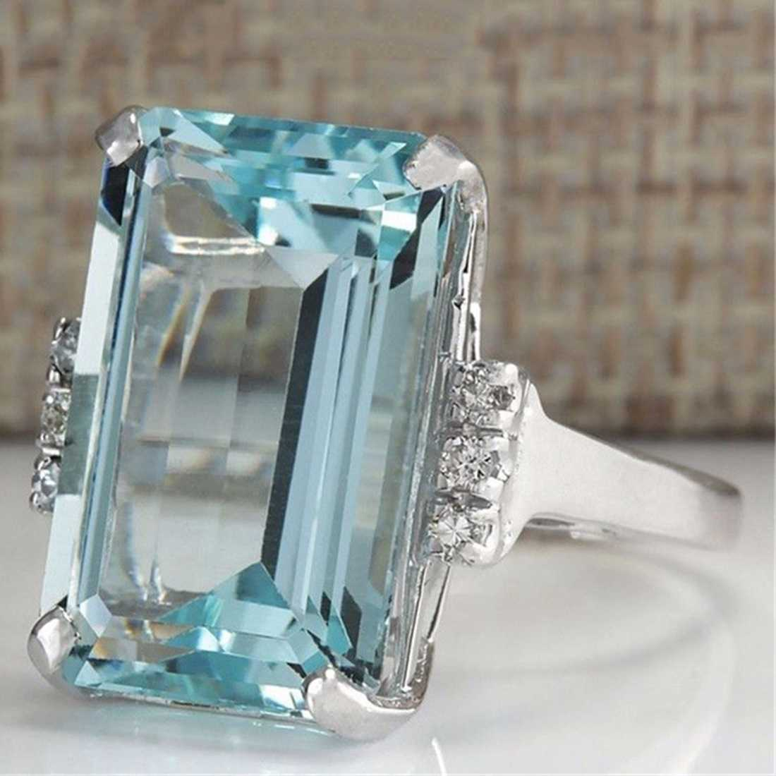 Jiayiqi 2018 Top Quality Square Blue Crystal Cubic Zirconia Wedding Ring Silver Color Full Sizes Wholesale