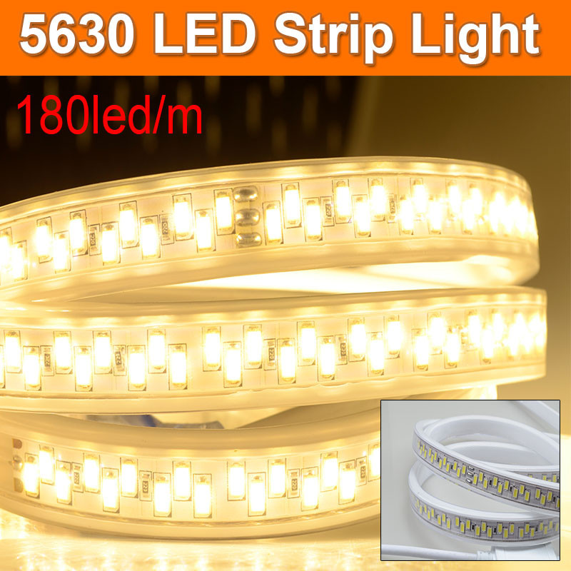 American Canada Voltage LED Tape 5630 SMD 180led/m Home Hotel Decor High-end Strip 110V AC Waterproof High Lumen Flexible Light