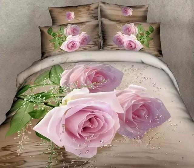 3D Pink Rose Super King Size Bedding Set Queen 100% Cotton Bed Sheets Fitted  Duvet