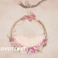Dvotinst Baby Photography Props Flowers Hanging Basket Decoration Fotografia Accessories Infant Toddler Studio Shooting Photo