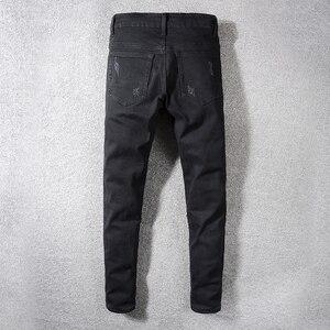 Image 2 - Sokotoo Mens rivets stars printed patchwork black jeans Trendy streetwear slim fit stretch denim pencil pants Ripped trousers