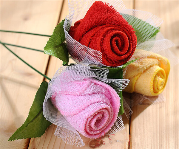 2015 Creative Romantic Rose Shape Cake Towel Gift Love Rose Towel