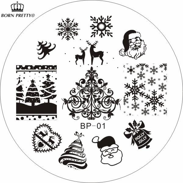 Christmas XMAS Theme Nail Art Stamp Template Image Plate BORN PRETTY BP01 Nail Stamping Plates Set