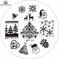 Tema de Navidad Nail Art Sello Plantilla Placa de la Imagen NACIDO PRETTY BP01 Clavo Que Estampa Las Placas Conjunto