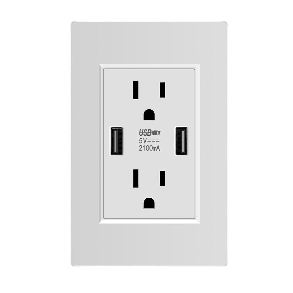Prise Standard US, prise murale 2.1A double prise USB adaptateur secteur panneau prise universelle, prise Duplex inviolablePrise Standard US, prise murale 2.1A double prise USB adaptateur secteur panneau prise universelle, prise Duplex inviolable