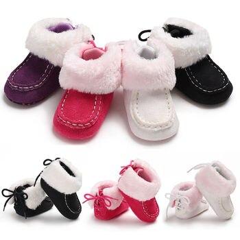 Zapatos de bebé recién nacido niños bebé niño invierno cálido tobillera zapatos de cuna bebé Prewalker zapatos de felpa de encaje primero caminantes 0-12 M