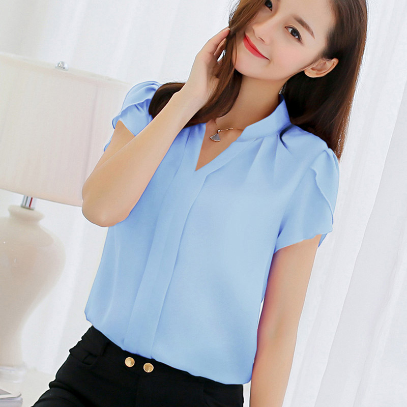 Women Shirt Chiffon Blusas Femininas Tops Short Sleeve Ladies Formal Office Blouse Plus Size Shirt Clothing short dresses office wear