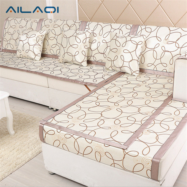 Ailaqi High Quality Sofa Cover Plaid Slipcover Summer Cooling Couch Rattan Chair Seat