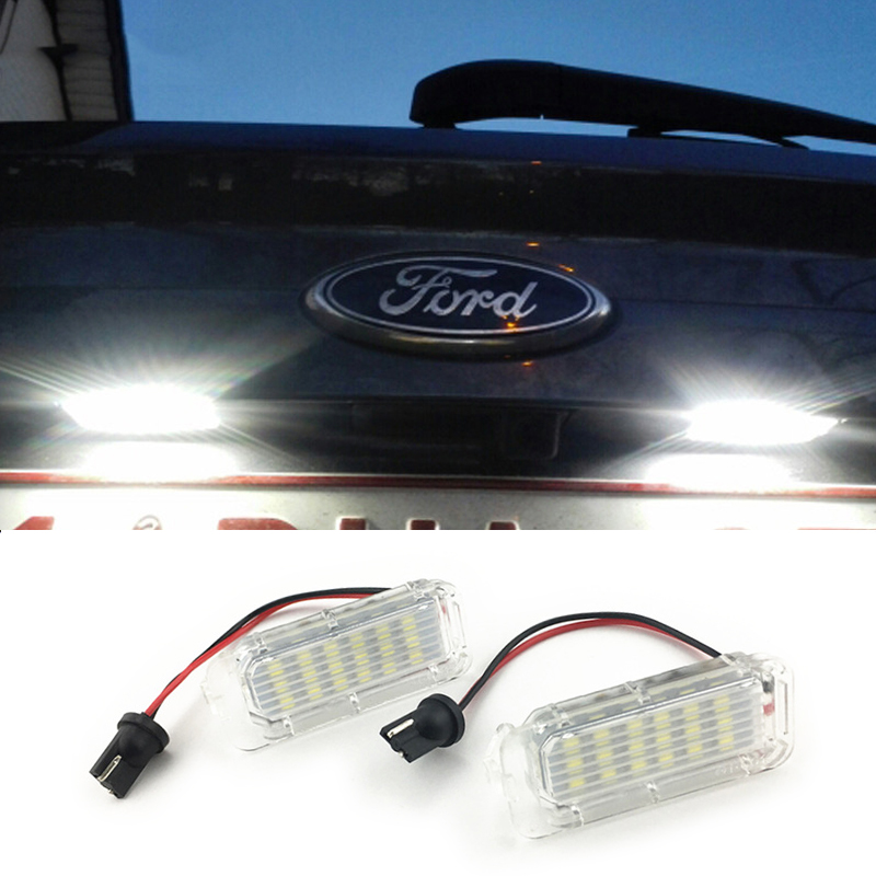 2x Error Free LED License Plate <font><b>Light</b></font> 2835SMD White For <font><b>Ford</b></font> <font><b>Focus</b></font> Fiesta Mondeo MK4 Kuga Galaxy S-max C max Mk2 DA3 MK3 MK5 MK6 image