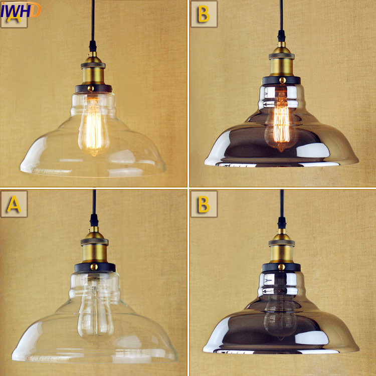 IWHD Glass Vintage Pendant Lights Fixtures American Edison Style Loft Industrial Lamp Home Lighting Lamparas De Techo Lampe iwhd american edison loft style antique pendant lamp industrial creative lid iron vintage hanging light fixtures home lighting