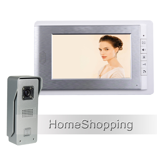 FREE SHIPPING Wired 7 Color Screen Video Door phone Intercom System + 1 Waterproof Doorbell Camera + 1 White monitor IN STOCK wired 7 video door phone intercom doorbell entry system 2 monitors villa house waterproof camera in stock free shipping