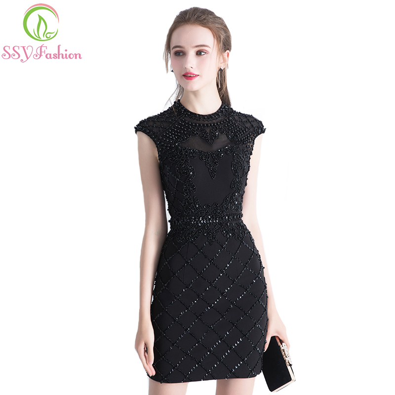 SSYFashion New Luxury Black Short Cocktial Dress Lace with Beading Silm Sexy Backless Banquet Formal Party