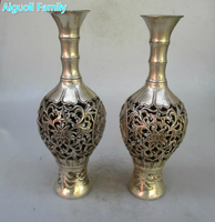 Collectible 1 Pair of Chinese Ming /Qing Dynasty Decorated Old Openwork carving Tibet Silver Flower Vase/Antique Metal Vase