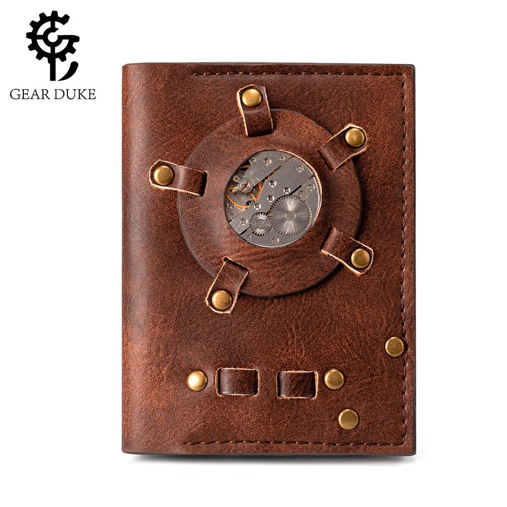 GearDuke Retro Personality Watch Core Wallet Europe Style Fashion Punk Rock Purse Horizontal Short Men's Wallet