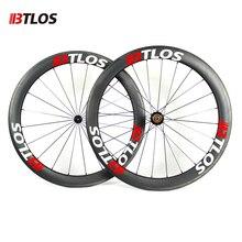 цена на Ultra-light btlos WRC-55 Carbon Wheels 700C 55mm Clincher 26mm Width special braking Powerway R13  Road Bike Wheelset
