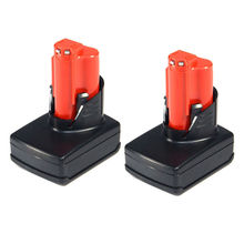 HOT-2x M12 XC 4.0AH 12V Lithium Ion Battery for MILWAUKEE 48-11-2440 48-11-2402 Black&Red
