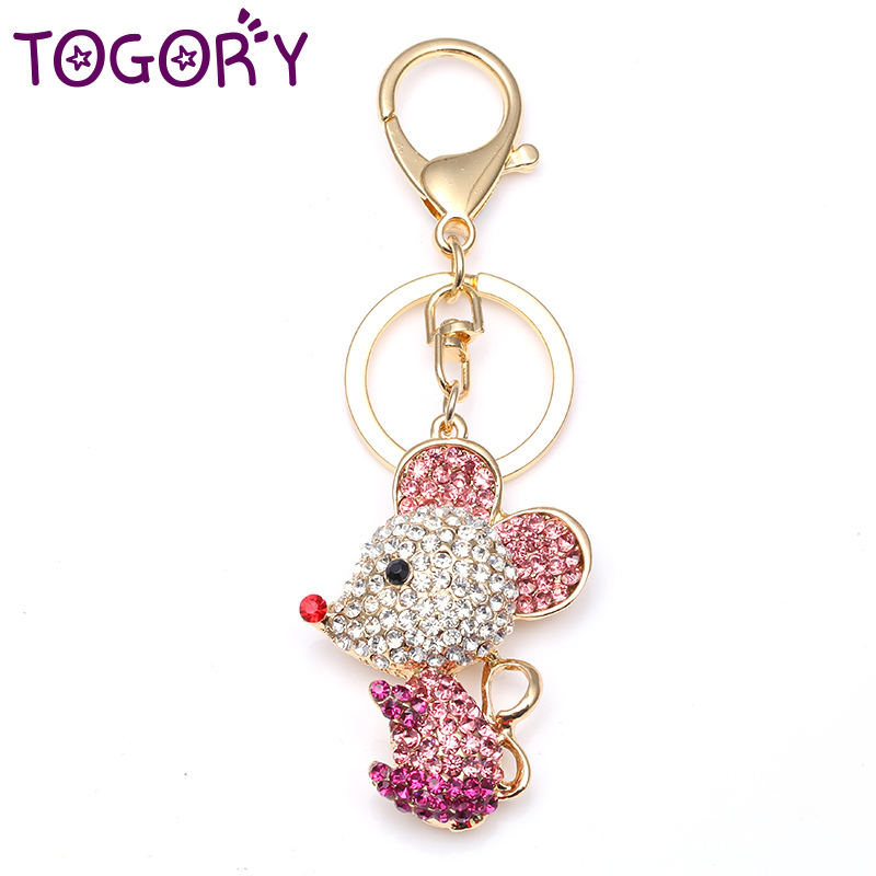 TOGORY Smile Mouse Opals Crystal Enamel HandBag Keyrings Keychains For Car Purse Bag Buckle Key Chains Holder For Women