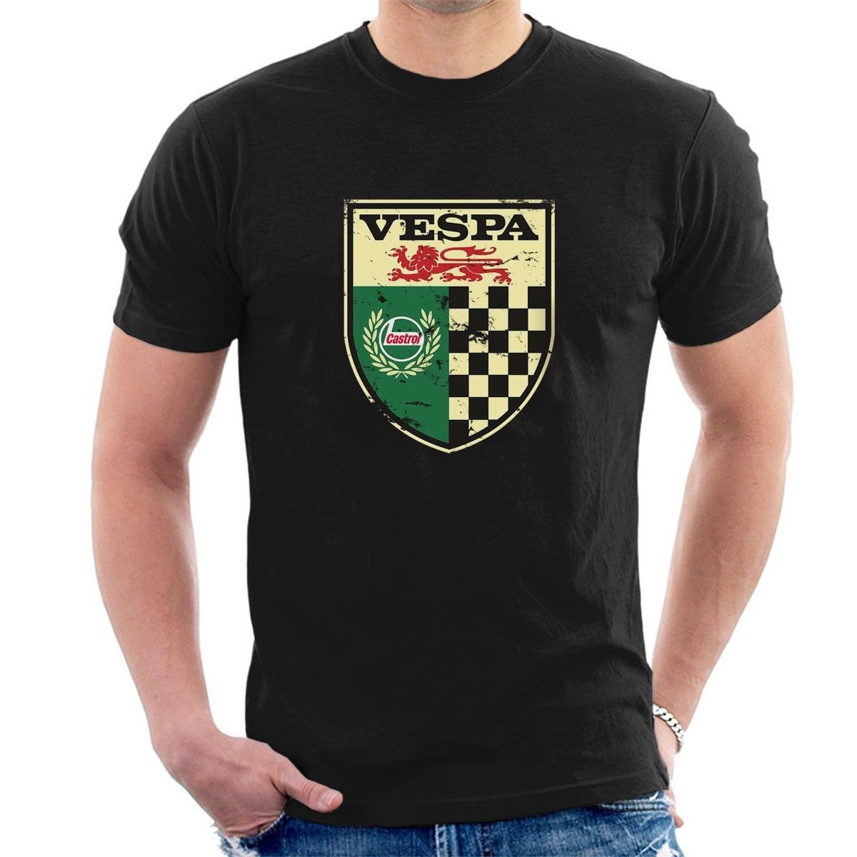 New Vespa Castrol Vintage Sign T-Shirt Distressed Classic Retro Oil M03 Cartoon T Shirt Men New Fashion Tshirt Unisex Tees
