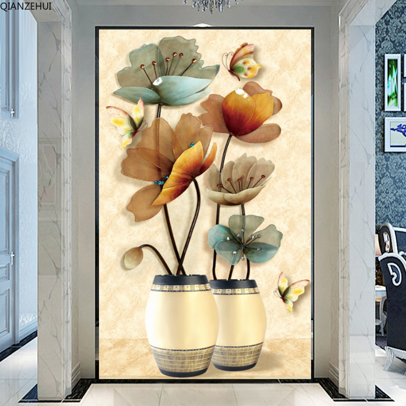 QIANZEHUI,Needlework,DIY Rich Jewellery Vase Cross Stitch ,The Vertical Version Of Magnolia Silk Series ,Wall Home Decro