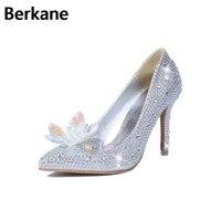 Strass Cenerentola Scarpe Da Sposa Per Le Donne di Cristallo Tacchi Alti Adulti Decorazione del Vetro Pompe Partito Casual Sapato Feminino Hot