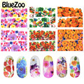 BlueZoo 6 pcs/pack Water Transfer Vintage Flower Stickers Full Cover Nail Decal Sticker Nail Accessories On Nail Art Decoration