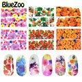 BlueZoo 6 unids/pack Decal Sticker de Transferencia de Agua de Flor de La Vendimia de La Cubierta Completa Pegatinas de Uñas Accesorios de Uñas En Nail Art Decoración
