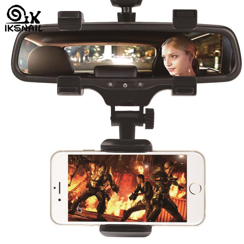 IKSNAIL Adjustable Car Rearview Mirror Mount Phone Holder GPS Stand Universal Navigate Support Automobile Data Recorder Bracket