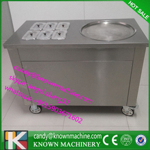 DHL shipping free Round fried ice cream machine with 6 fruit plate with R410a