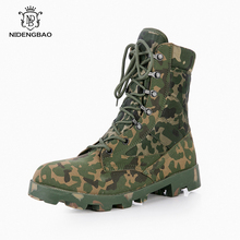 купить Camouflage Combat Boots Men Ultralight Hunter Desert Shoes Man High-top Outdoor Tactical Boots Special forces Military Footwear онлайн