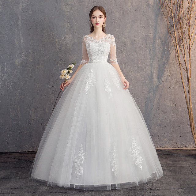 Do Dower Lace Embroidery Half Sleeve 2019 Wedding Dresses Long Train Wedding Gown V Neck Elegant Plus Size Vestido De Noiva 3