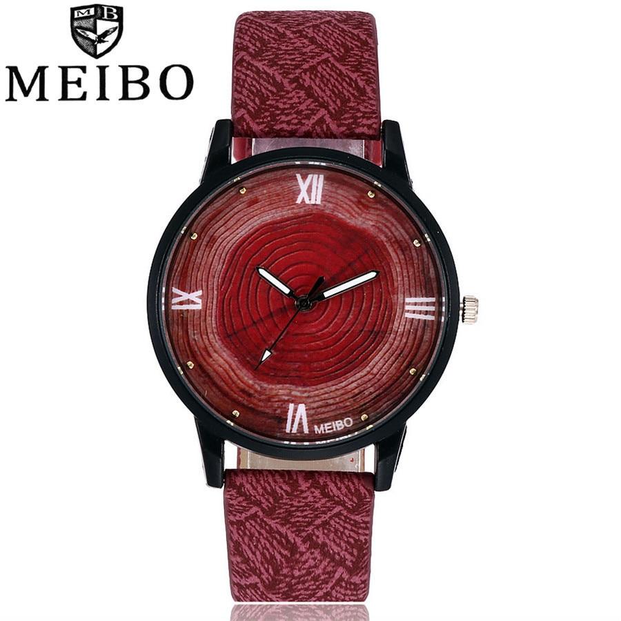 New Wood Women Watches MEIBO Brand Vintage Leather Quartz Clock Women Fashion Simple Face Wooden Dress Watch Clock цена и фото