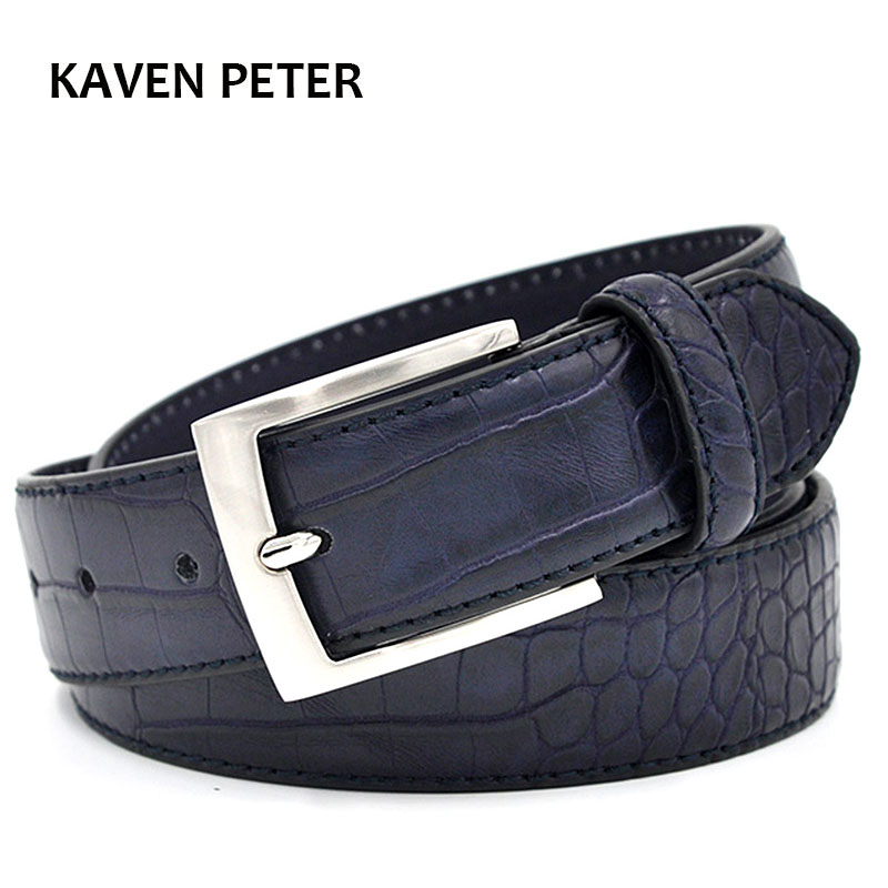 Men Faux Alligator Pattern Designer With Three Colour Choose Split Leather Lining Material Crocodile Belt  Free Shipping