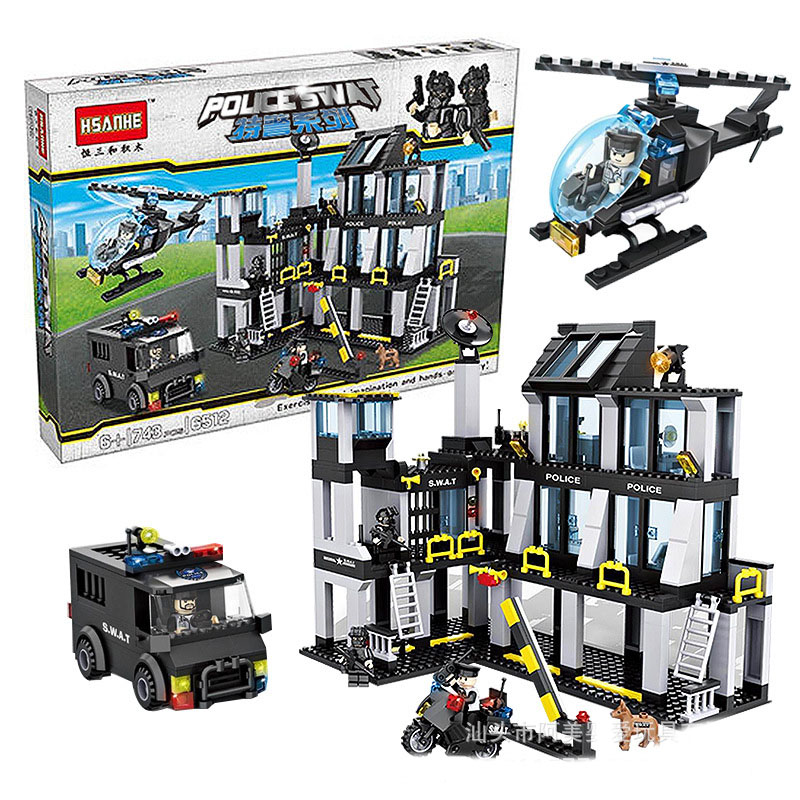 6512 Police Series Helicopter and Car Police Station Model Block Set Building Blocks Brick Girl Kids Toys Compatible with Lepin lepin 22001 pirate ship imperial warships model building block briks toys gift 1717pcs compatible legoed 10210