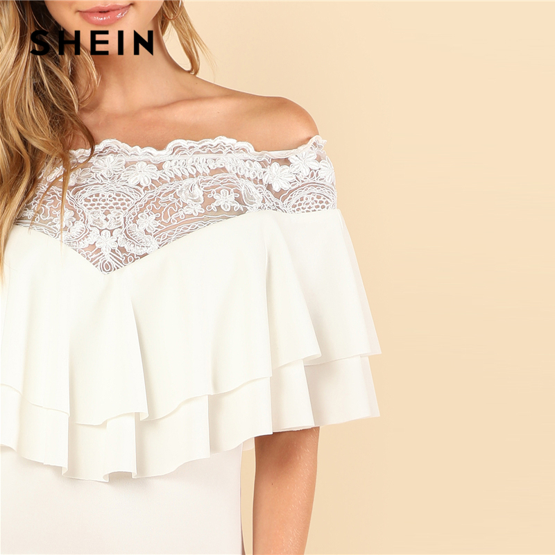 137a87fb94 SHEIN White Party Elegant Sheer Lace Trim Layered Foldover Ruffle Hem Off  the Shoulder Fishtail Dress Summer Women Sexy Dress-in Dresses from Women's  ...