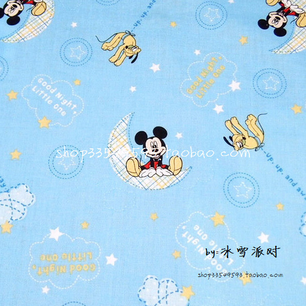 105X100cm Light Blue Mickey Mouse Dogs Moon Cotton Fabric for Baby Boy Clothes Bedding Sets Hometextile Patchwork DIY-AFCK273