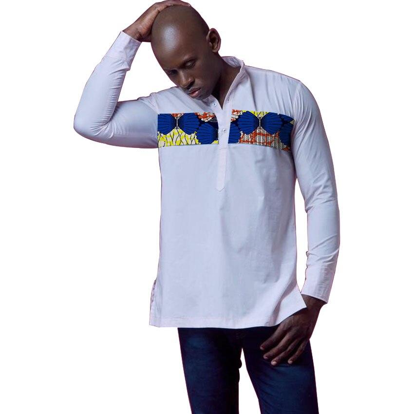 Mans Afrique Festive Vêtements Mode Vêtements Africain Imprimer Tops Manches Longues d'impression et blanc Coton patchwork T-Shirt Personnalisé