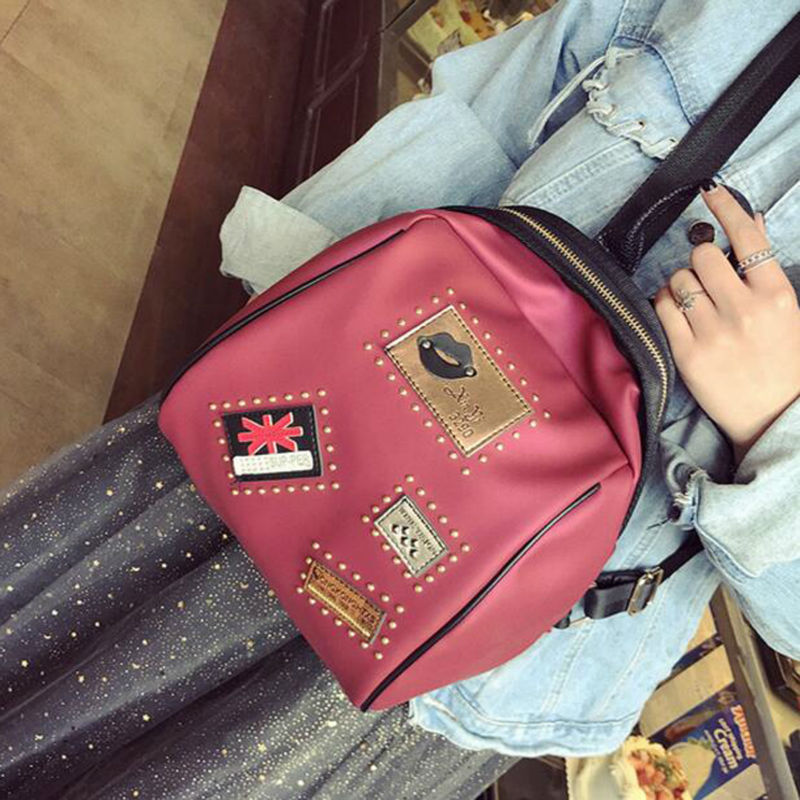 New Collection Fashionable Korean Style Female Backpack PU Stylish Rivet Badge Backpack All match Simple College
