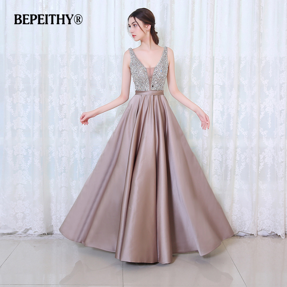 Charming V Neck Crystal Bodice Open Back A Line Long Evening Dress Party Elegant Vestido De