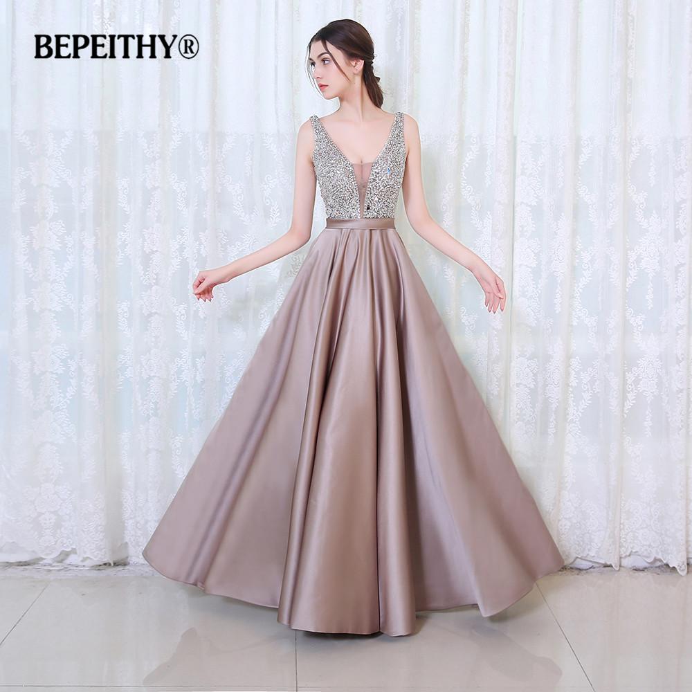 BEPEITHY V Neck Beads Bodice Open Back A Line Long Evening Dress Party Elegant Vestido De Festa Fast Shipping Prom Gowns